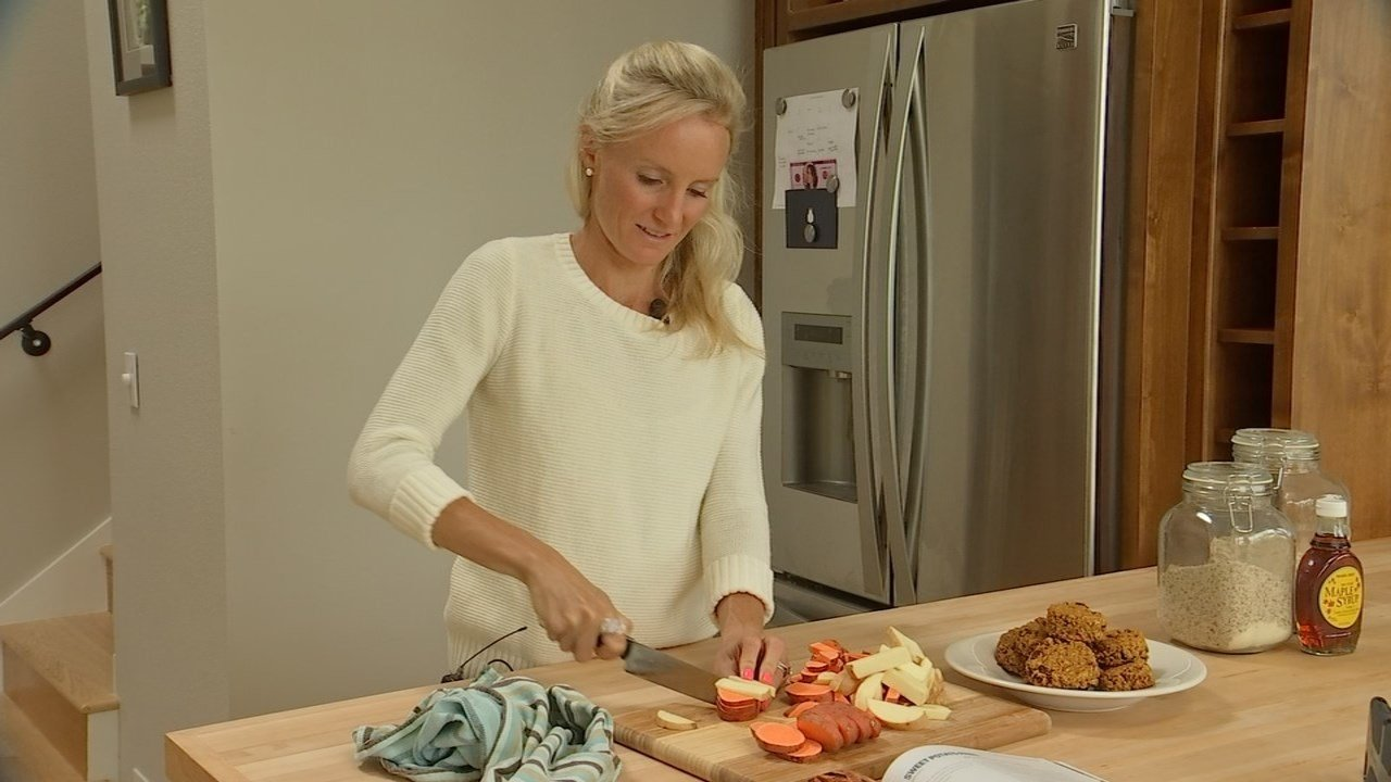 "Shalane Flanagan preparing a recipe from her cookbook, ""Run Fast. Eat Slow."" (KPTV)"