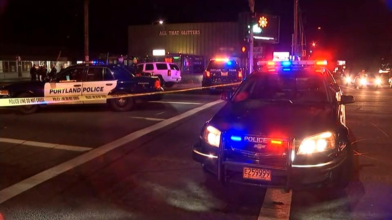 Police at the scene of a deadly crash in SE Portland on Sunday night. (KPTV)