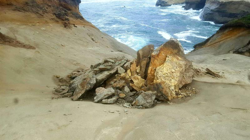 "Toppled landmark sandstone pedestal at Cape Kiwanda known as '""duckbill."" (Photo: Oregon Parks and Recreation Department)"
