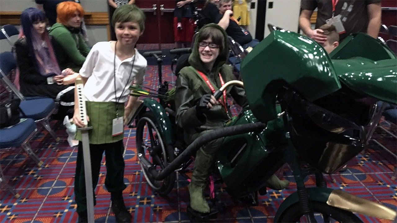"Cassie enjoying her new ""costume"" wheelchair (KPTV)"