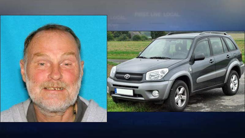 Photo of hit-and-run victim Slanley Henry Grochowski and a similar car as the one believed to have hit him. (Photos: Portland Police Bureau)