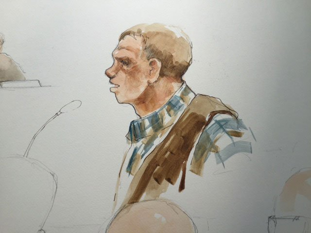 Sketch of Ryan Bundy in federal court Tuesday (KPTV)