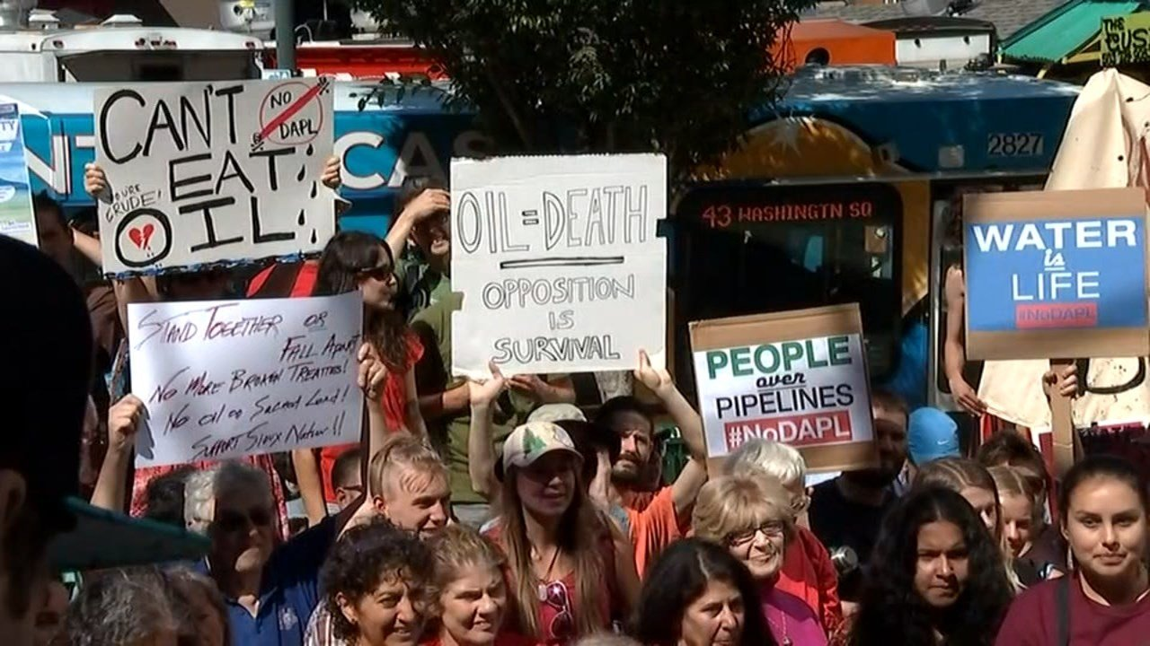 Protesters demonstrating in downtown Portland Tuesday said a proposed ban by the city on new fossil-fuel terminals is a good first step but that more needs to be done. (KPTV)