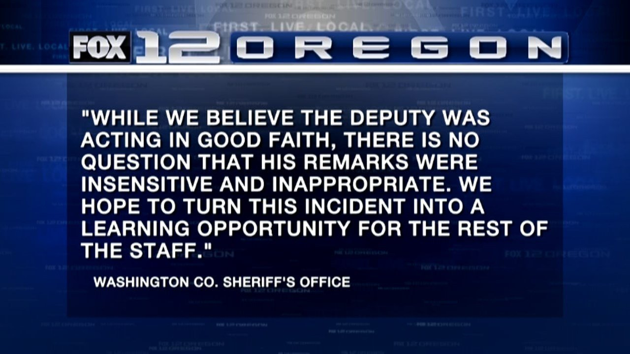 Statement from Washington County Sheriff's Office