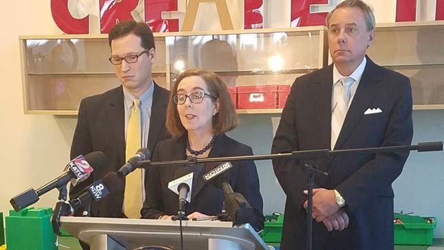 Gov. Kate Brown in Portland on Thursday. (KPTV)