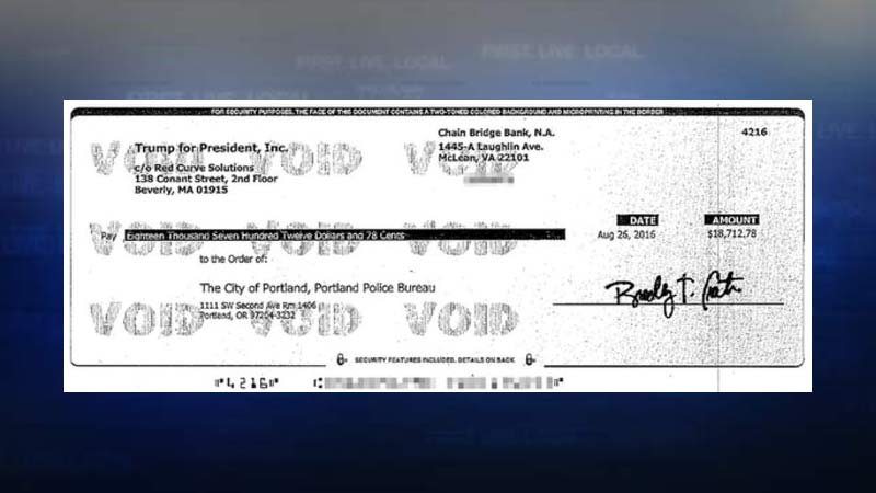 Image of check from Trump campaign to the city of Portland. (Image: City of Portland, portlandoregon.gov)