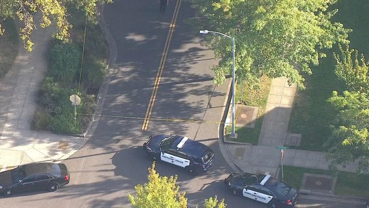 Police at scene of shooting at McCoy Park in north Portland. (KPTV/Air 12)