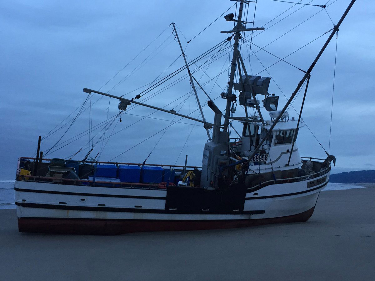The U.S. Coast Guard said there were no obvious pollution concerns after the fishing vessel Ms Nicani ran aground near Florence, Oregon early Saturday. (Senior Chief Petty Officer Timothy Tregoning/U.S. Coast Guard)