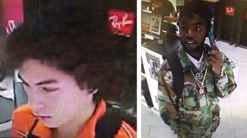 """Wanted theft suspect at the Lloyd Center who police have dubbed """"DJ Gucci Thief"""" along with a person he was seen with before the theft. (Images released by Portland Police Bureau)"""