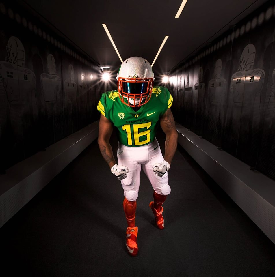 """Once a Duck, Always a Duck"" uniform. (Courtesy: University of Oregon)"