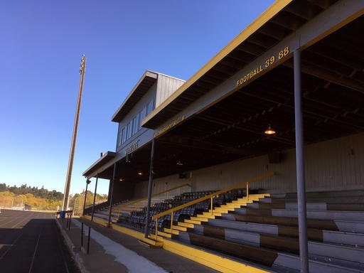 (AP Photo/Andrew Selsky). Philomath High School athletic stadium is shown in Philomath. One of the town's biggest events is Friday night football games, but football season has been canceled