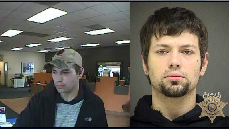 On left, Surveillance image from Bank of the West robbery in Tualatin on Sept. 1. On right, jail booking photo of Grant Christian Ernst. (Photos: Tigard PD)