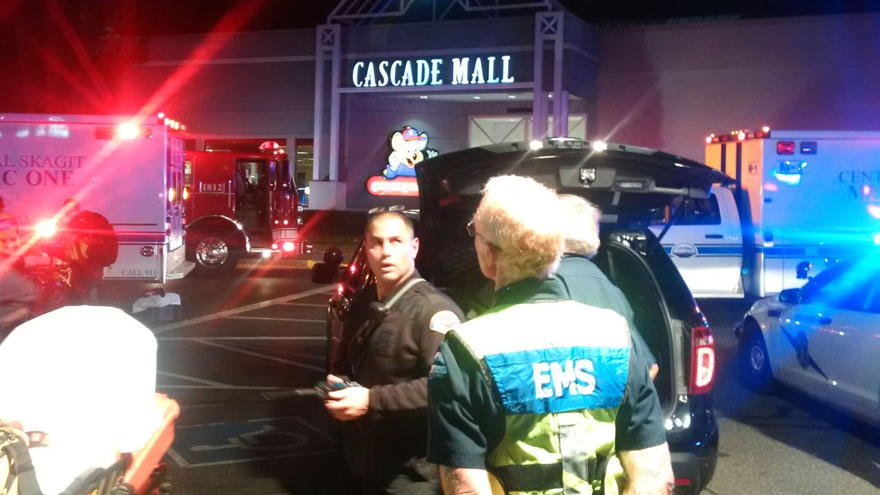 Via WSP Trooper Sgt. Mark Francis: EMS starting to enter to attend to injured inside Mall w/ police escort and after initial clearance. (Washington State Police)