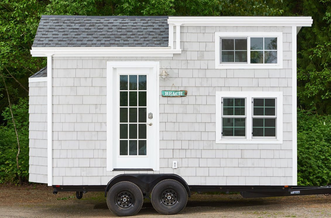 This tiny beach-style home is one of the styles available at Tiny Digs, a new hotel made of tiny houses in the Kerns neighborhood of Portland. (KPTV)