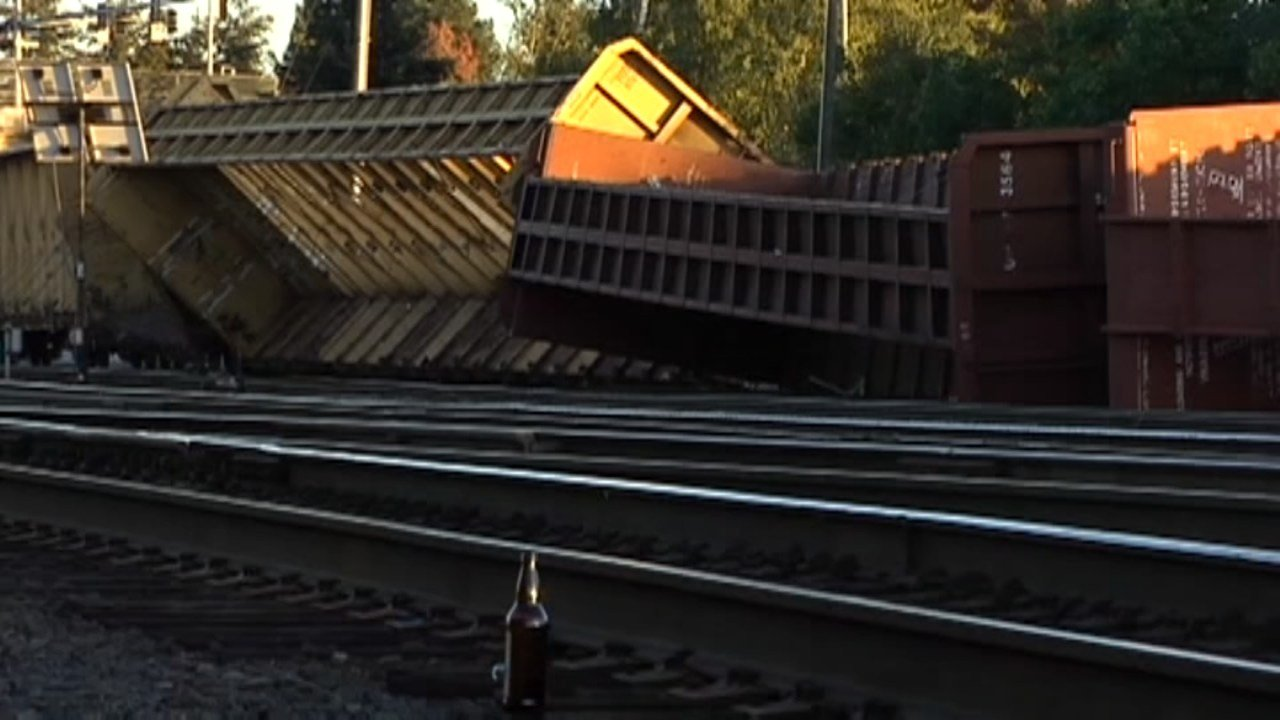 A train crash involving 13 train cars caused traffic delays and detours near Eugene Sunday. (CNN/KMTR)