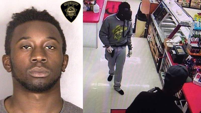 Jail booking photo of Jeremiah Grieser on left. On right, surveillance image of armed convenience store robbery in Jefferson. (Photos: Marion County Sheriff's Office)