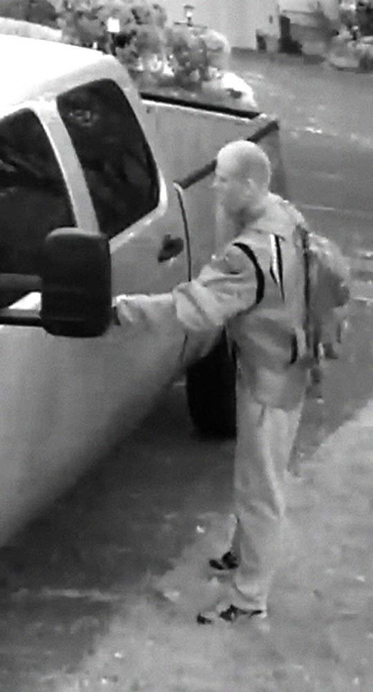 Surveillance image of truck theft suspect. Image released by Clackamas County Sheriff's Office.