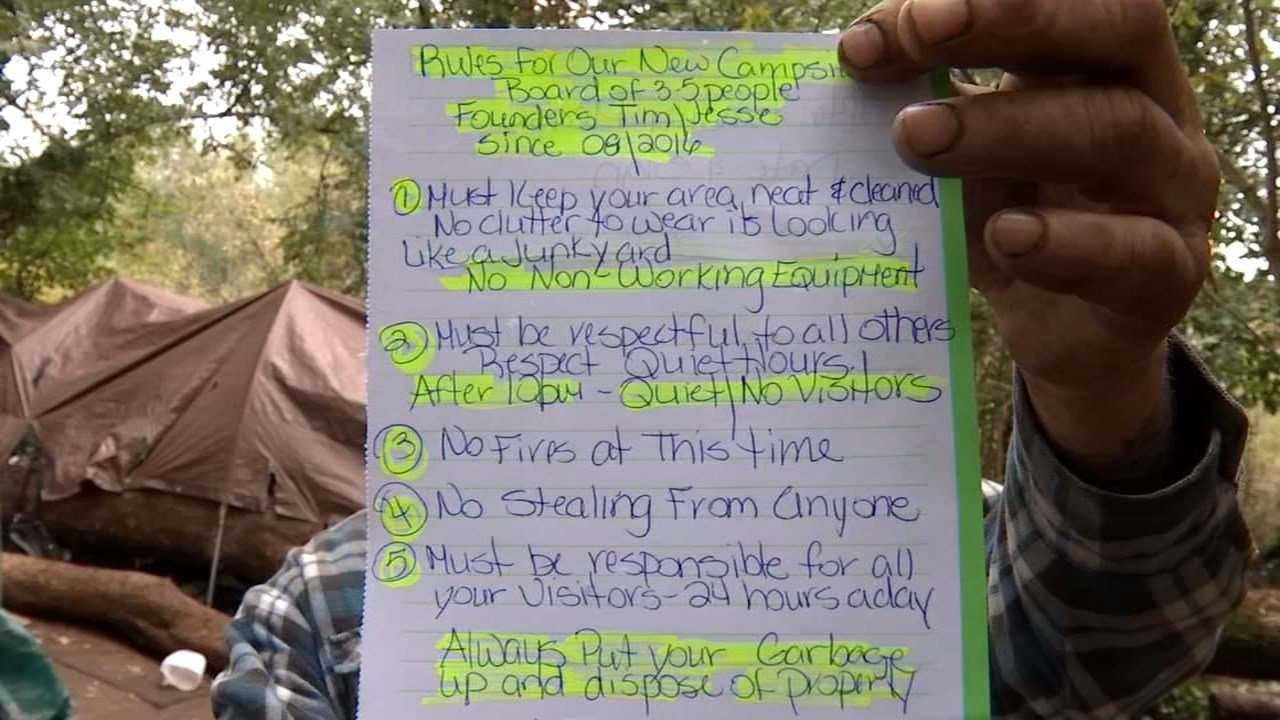 People moving into Camp Amanda are asked to follow a set of rules by the others living there. (KPTV)