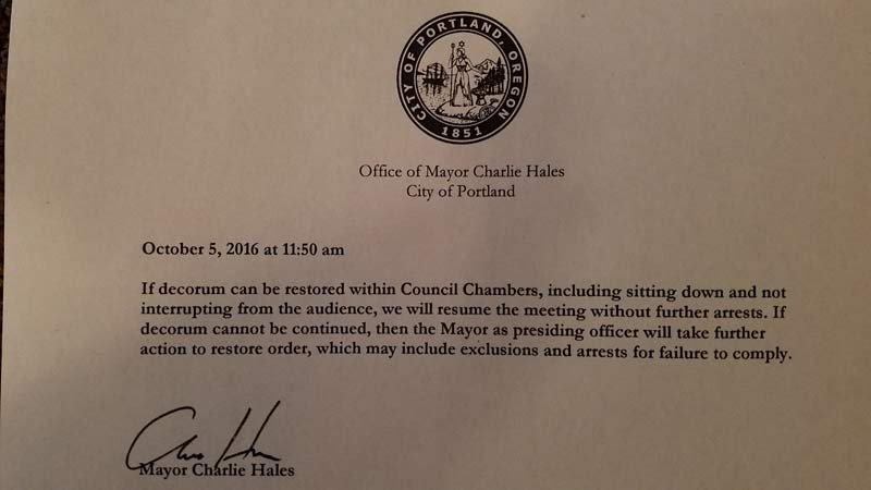 Memo from Mayor Charlie Hales (KPTV)