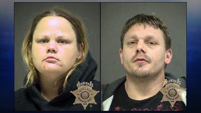 Jail booking photos of Lara Kent and Jack Harman Jr.