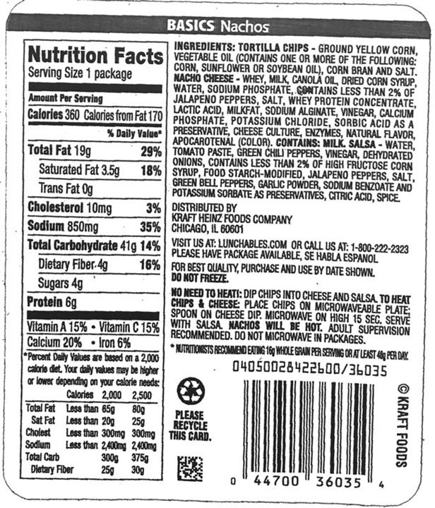 Recalled Lunchables variety incorrect back packaging (USDA)