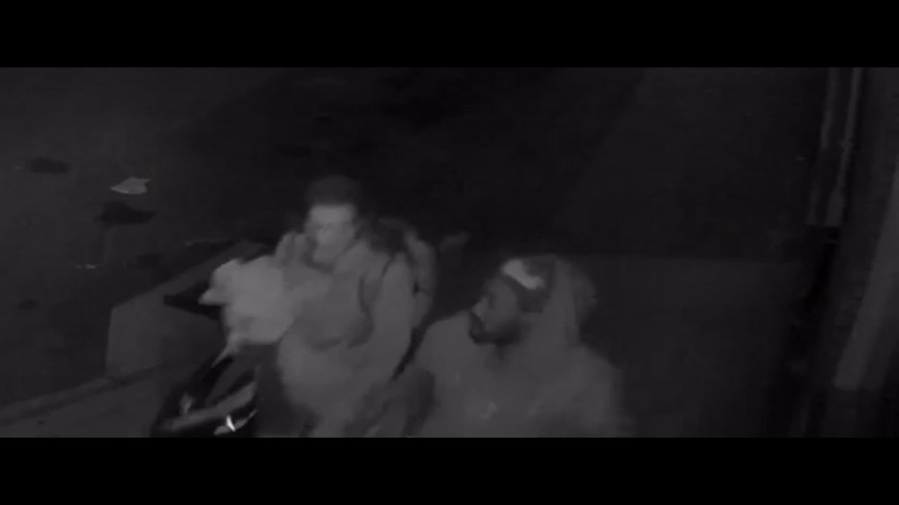 Surveillance image of two people leaving the scene of an arson fire in north Portland. (Image: Crime Stoppers of Oregon)