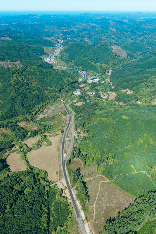 This aerial photo shows the new section of road, looking west near Eddyville (Photo: ODOT)