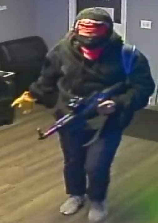 Surveillance image of armed robber at Portland Pot Shop. (Image: Portland Police Bureau)