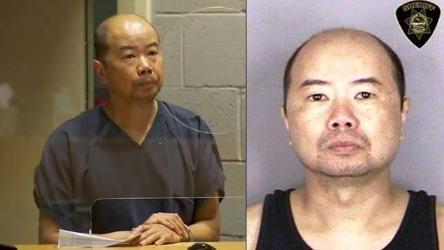 Edward Ritter during previous court appearance on left, jail booking photo on right. (KPTV)