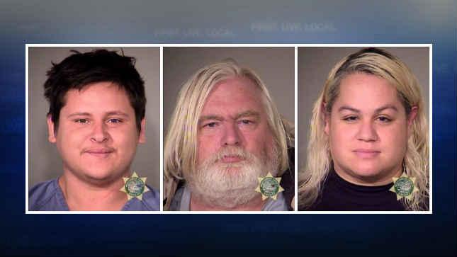 Jonny Perez, Robert Lee West and Sarabeth Long, jail booking photos (Courtesy: Portland Police Bureau)
