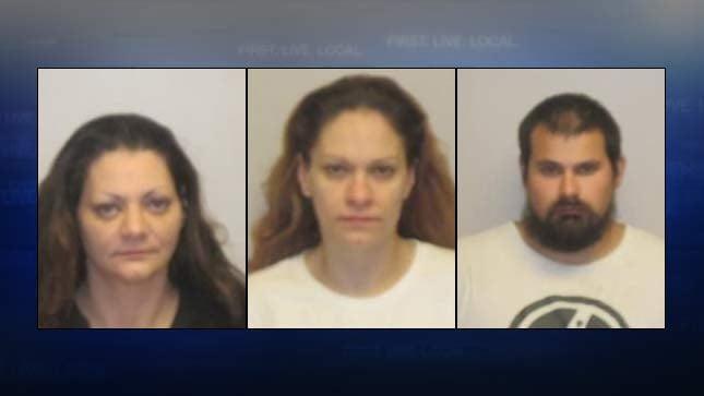 Crustal Hansen, Tashina Herrera, Randy Houle (jail booking photos)