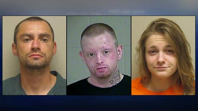 Jail booking photos of Jesse Lane, Charles Vernon and Stephanie Toney.