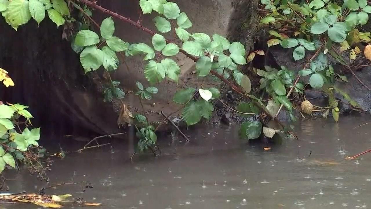 Rain falling into Johnson Creek on Thursday (KPTV)
