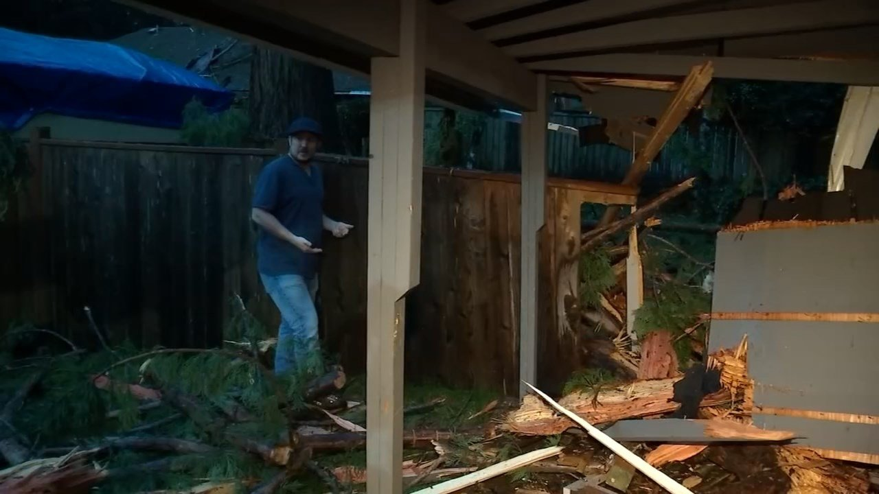Justin Ormiston showing the damage caused by parts of the tree falling onto his house (KPTV)