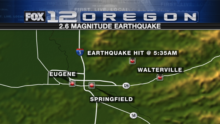 The 2.6 magnitude quake was centered about 10 miles ENE of Springfield