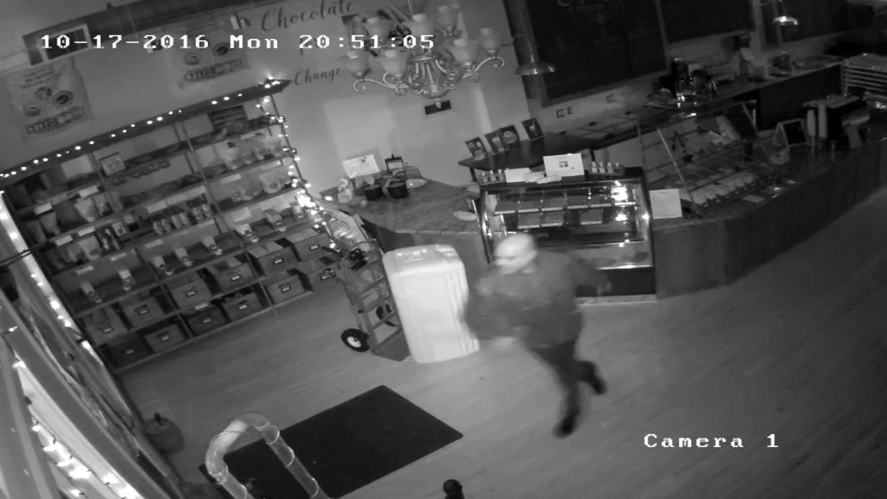 Surveillance image of break-in at Creo Chocolate in NE Portland. (Image: Creo Chocolate)