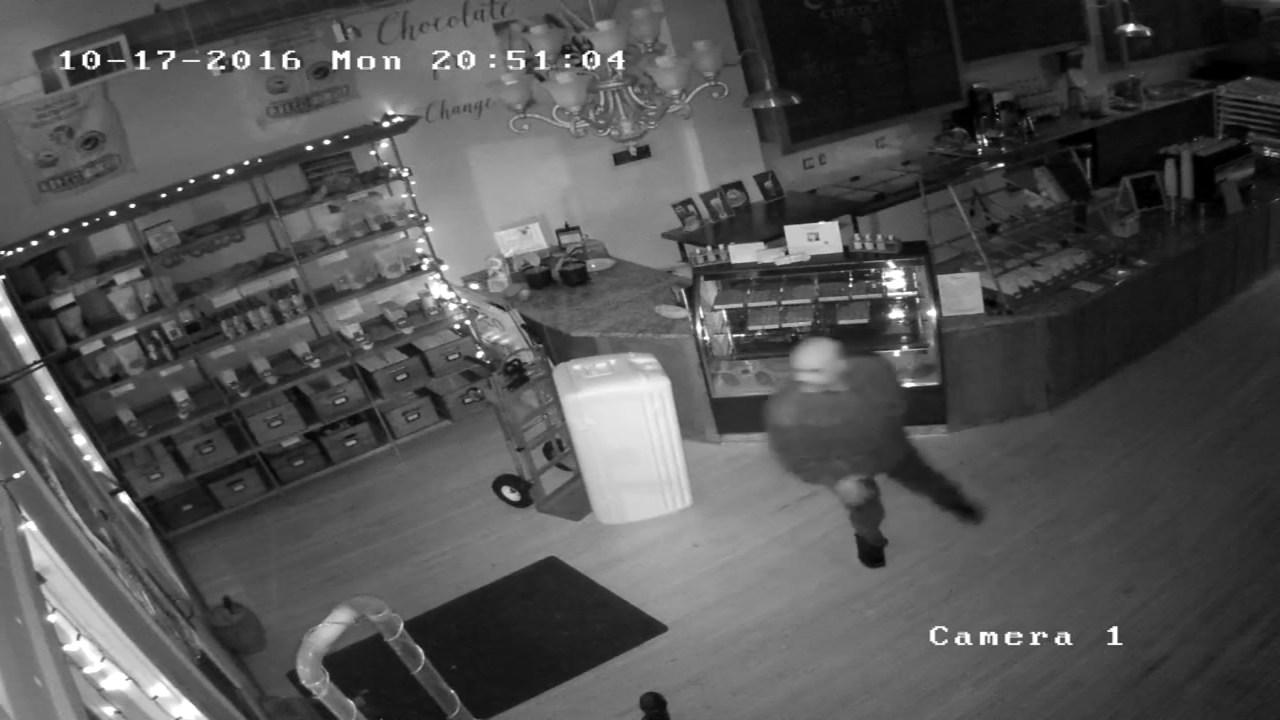 Surveillance image of break-in at Creo Chocolate in NE Portland. (Image: Creo Chocolate)