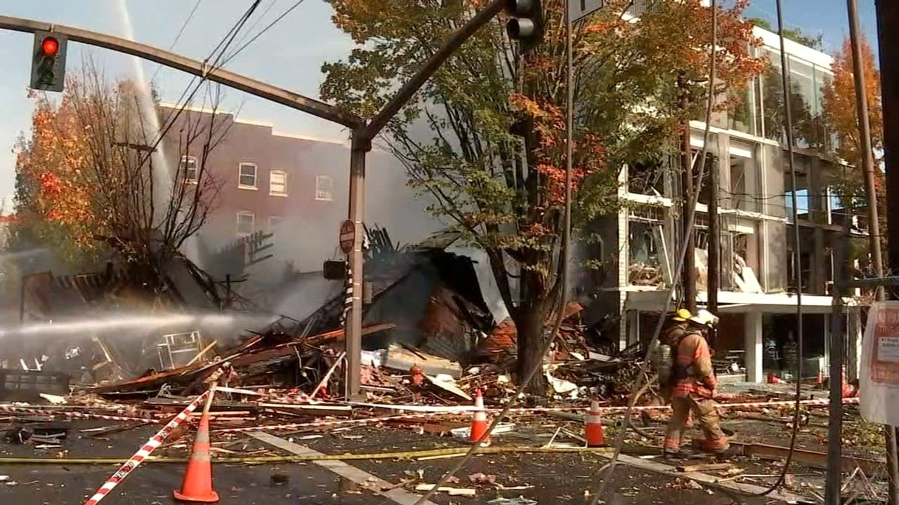 Site of natural gas explosion in NW Portland. (Image: KPTV)