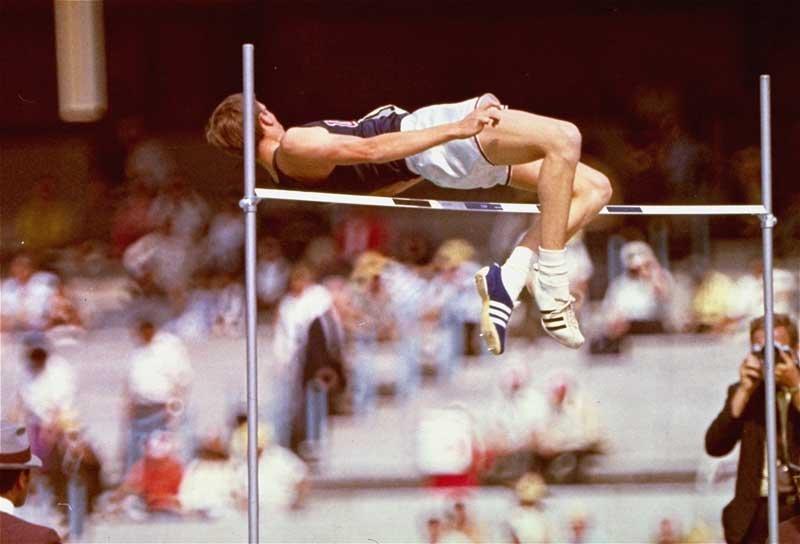 "High jumper Dick Fosbury of the United States is shown in October 1968, debuting his celebrated ""Fosbury Flop,"" during the Summer Olympics in Mexico City. (AP photo)"