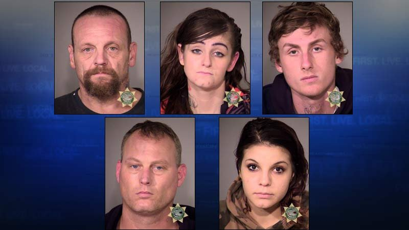 Jail booking photos for, from top left, Phillips, Rodriguez, O'Neil, Michaels and Hegre.