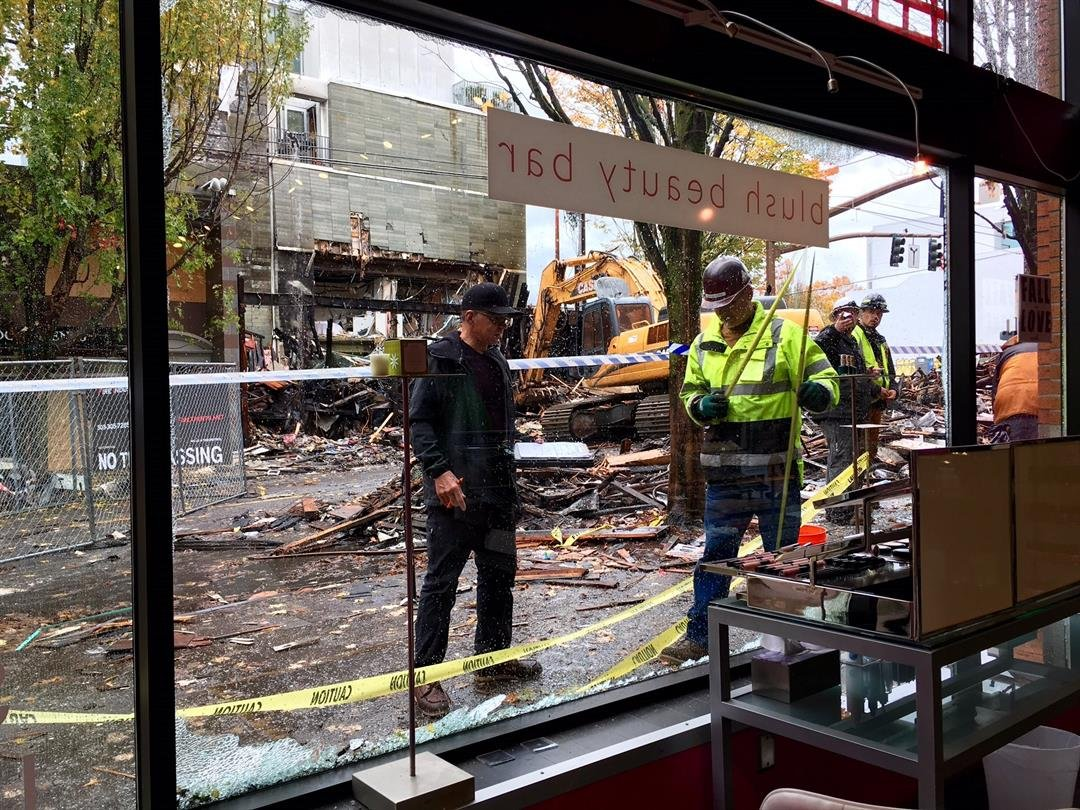 The view from the front window of Blush Beauty Bar, facing the epicenter of the blast. (KPTV)
