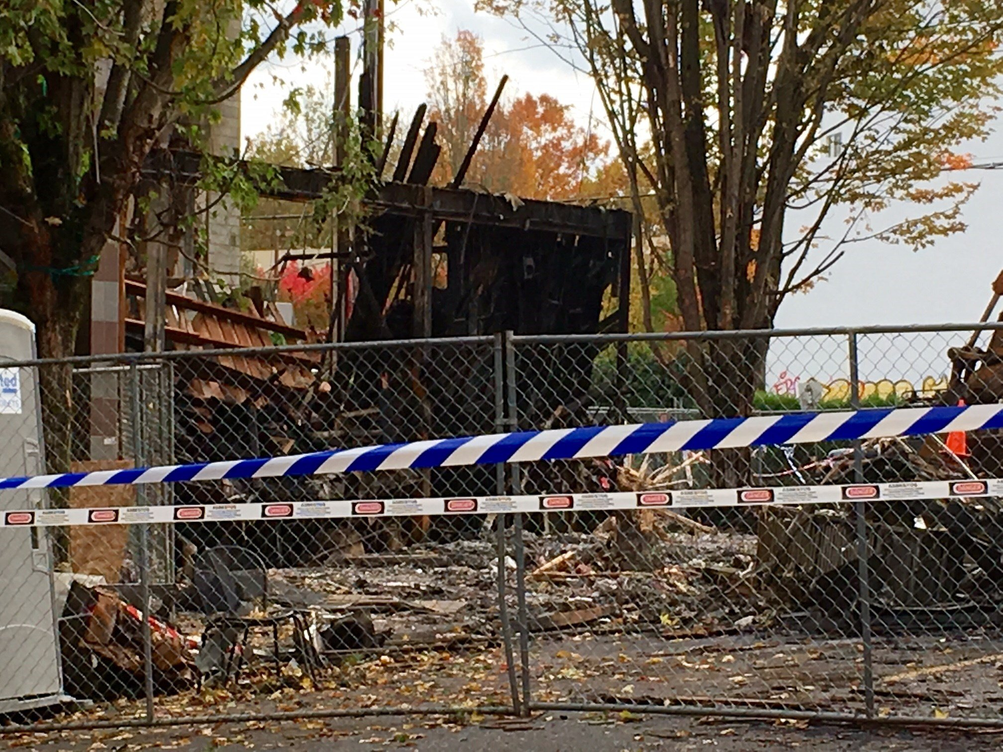 The remains of Portland Bagelworks, after a natural gas explosion Wednesday. (KPTV)