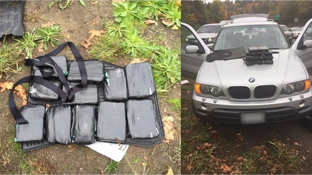 Officers said a K-9 unit discovered a hidden compartment in a car containing around 20 pounds of cocaine during a speeding stop on I-5 Friday. (Portland Police Bureau)