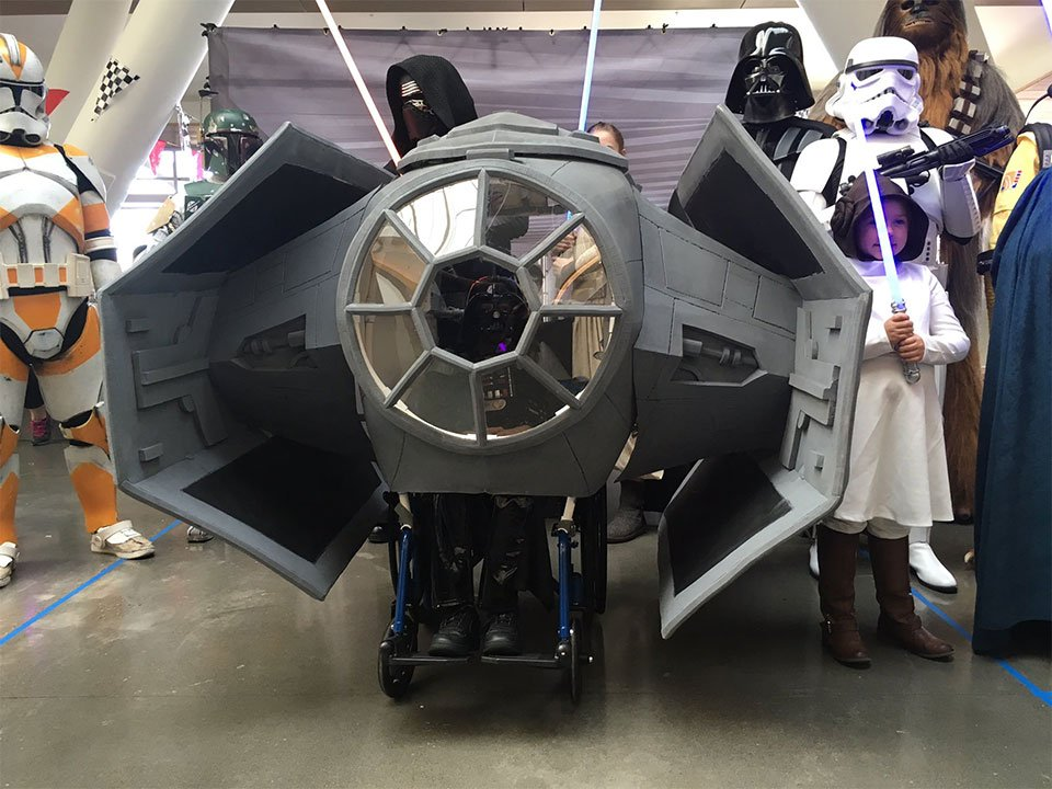 The team at Magic Wheelchair surprised a Darth Vader fan named Daniel who is battling brain cancer with his own version of Vader's TIE Fighter from Star Wars. (KPTV)