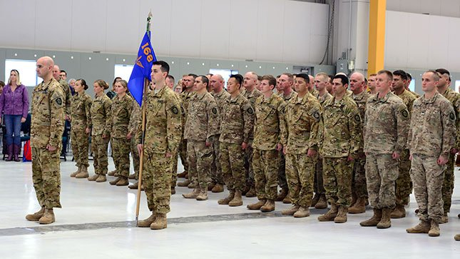 Oregon Army National Guard soldiers with 1st Battalion, 168th Aviation, stand in formation during a demobilization ceremony to welcome them home on Oct. 22, 2016, at the Army Aviation Support Facility in Pendleton. (Photo: Sgt. 1st Class April Davis)
