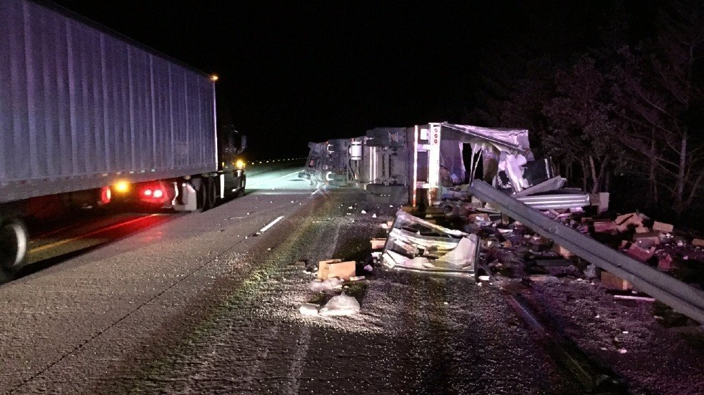 The Oregon State Police report that a tractor-trailer that went off of Interstate 5 south of Ashland spilled 40,000 pounds of cheese as it came to a rest on its side. (Oregon State Police)