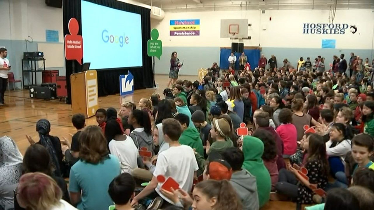 Students learned tips on avoiding identity phishing scams and creating secure web passwords during the Google Online Safety Roadshow held at Hosford Middle School Monday. (KPTV)