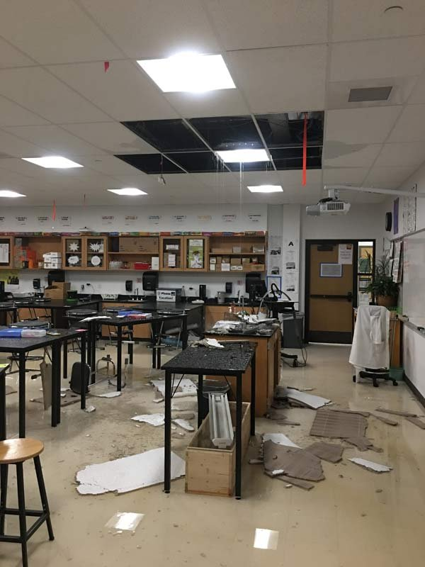 Flood damage at Roosevelt High School. (Photo: Roosevelt High School)