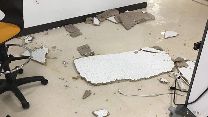 Flood damage at Roosevelt High School. (Photo: Roosevelt High School)