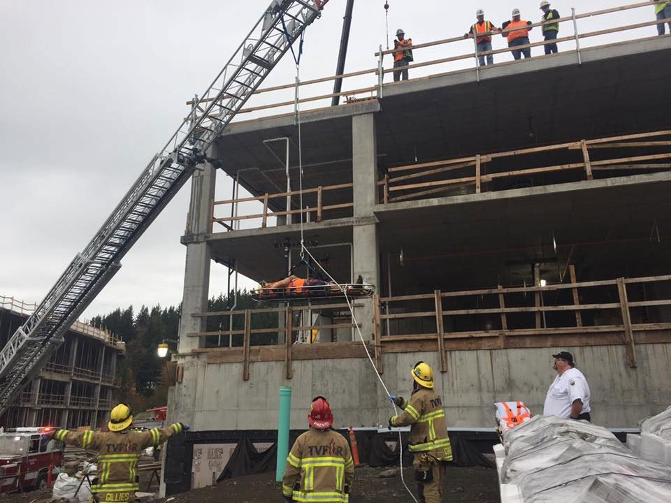 Tualatin Valley Fire and Rescue crews responded to a call at a worksite Tuesday afternoon where a worker fell and became trapped in scaffolding. (Tualatin Valley Fire and Rescue)